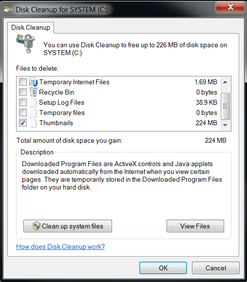 Clean up system files for thumbnail cache db files used on Windows Explorer