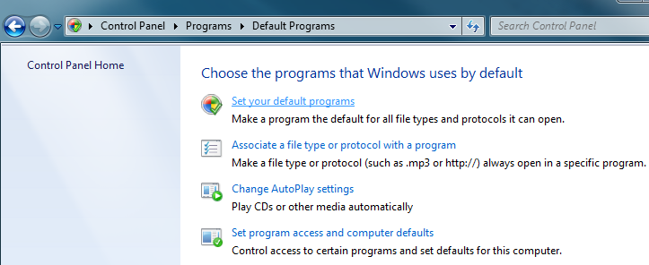 How to set default browser in Windows 7 using Control Panel