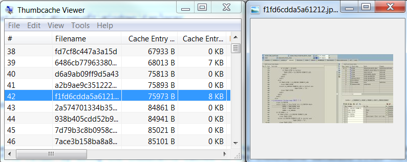 thumbnail view of an image in Windows thumb-cache file
