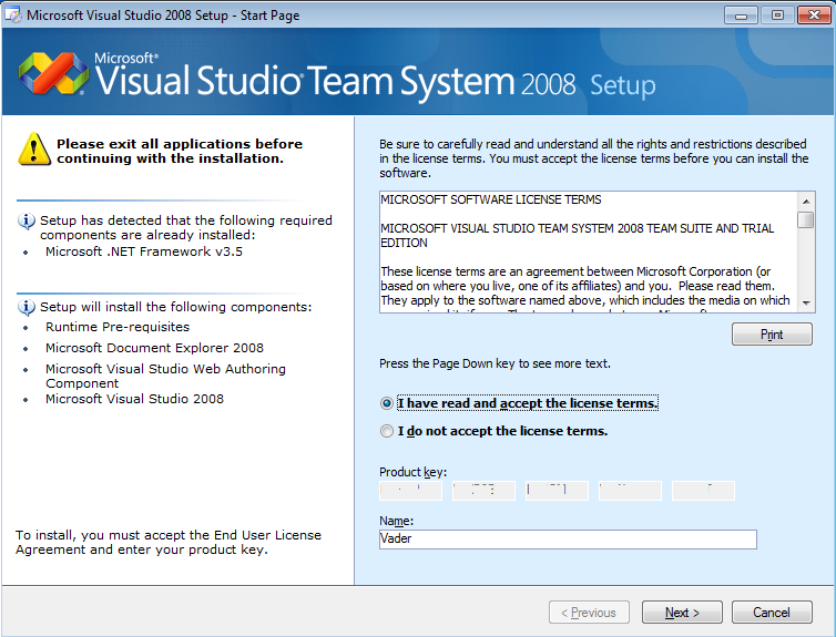 microsoft visual studio 2008 license key