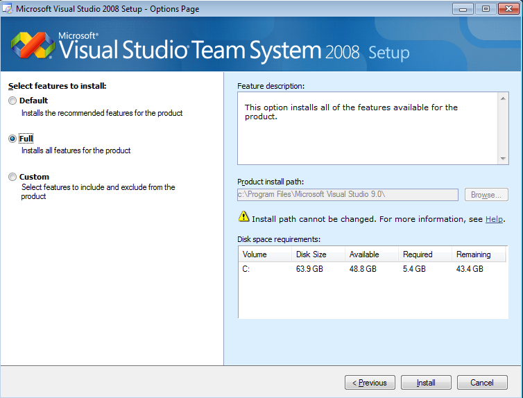 select-vs2008-features-to-install-default-full-custom