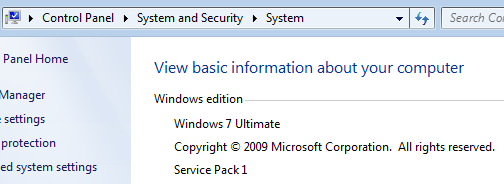 Windows 7 Control Panel system information for Win7 version and service pack