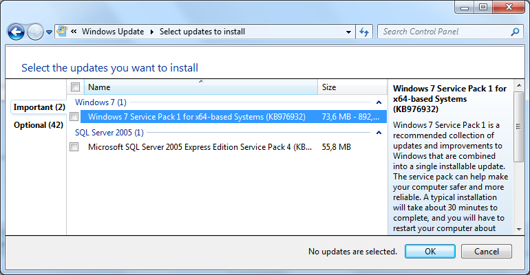 Error updating windows 7 service pack 1