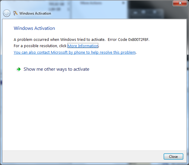 Windows 7 Windows activation error code 0x80072f8f