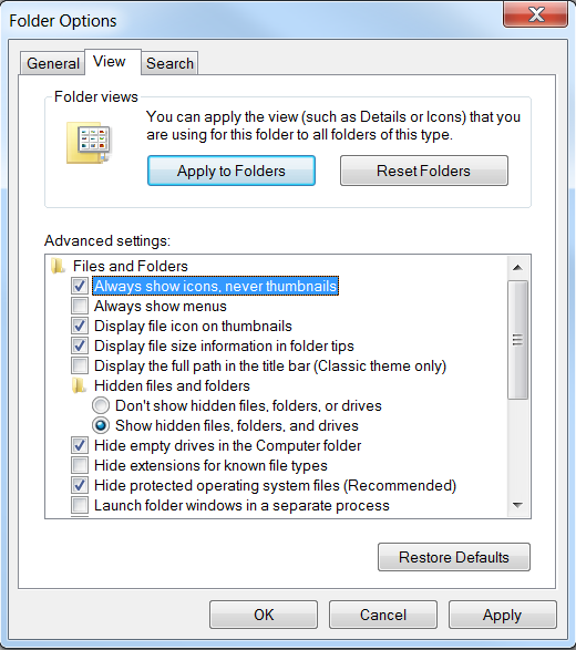 configure Windows Explorer Folder Options to prevent thumbnail caching