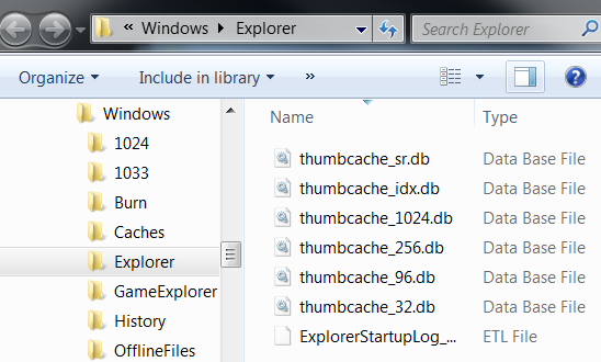 Windows 7 thumbnail cache files