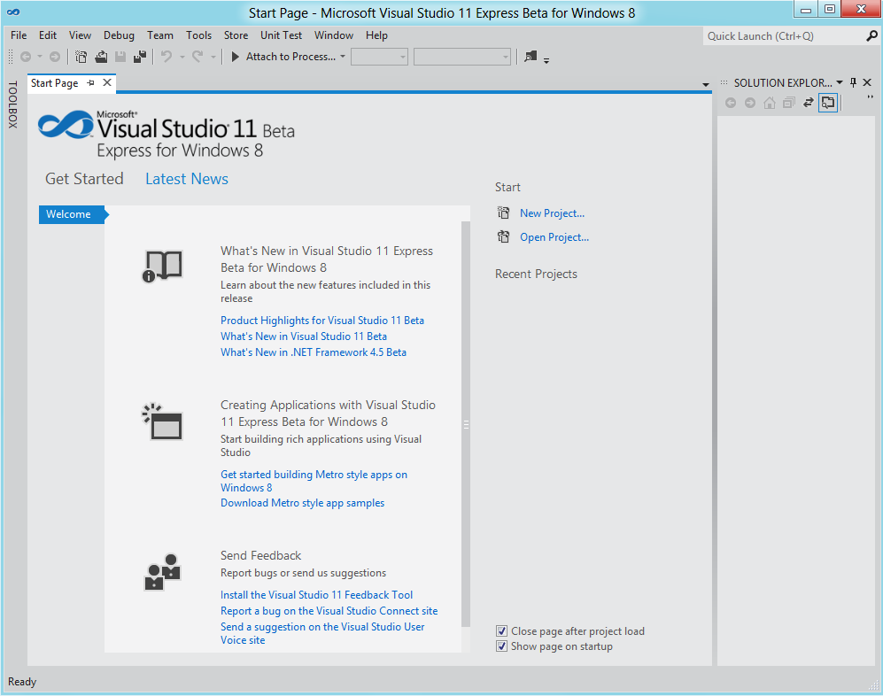 Microsoft Visual Studio 11 Express Start Page
