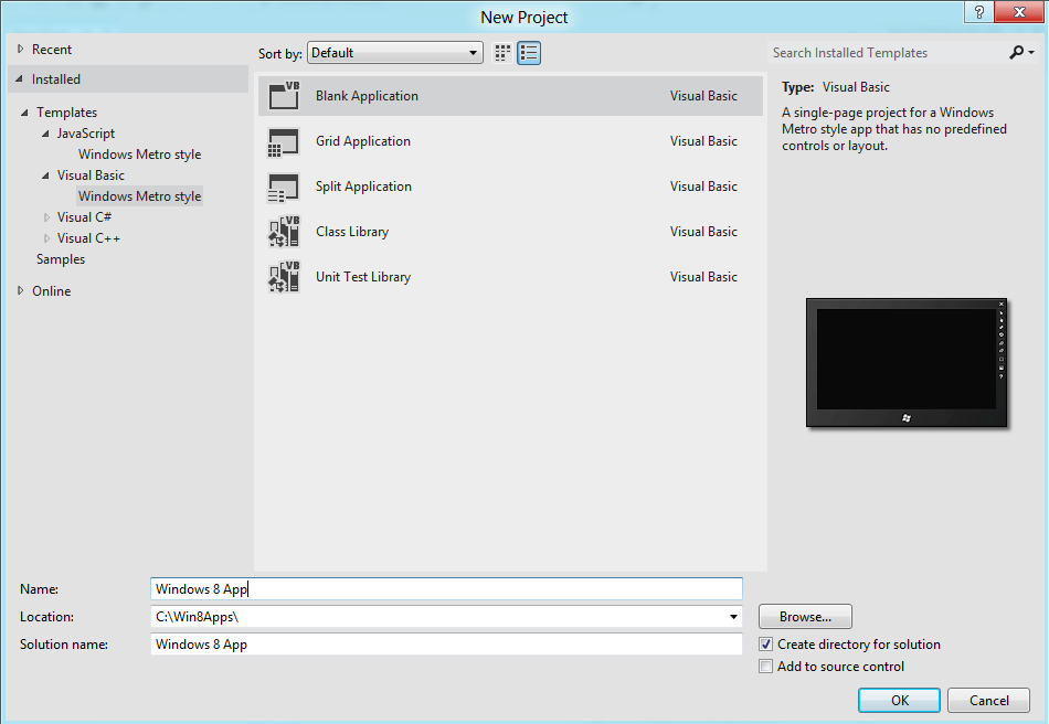 Windows Metro style project templates for creating apps for Windows 8