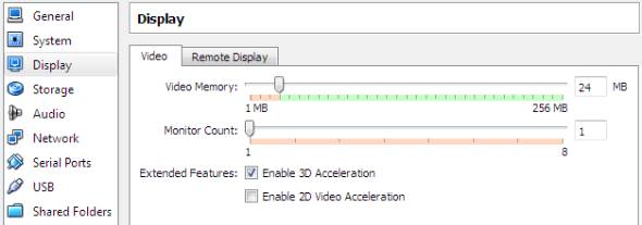 enable 3D acceleration for virtual machine display
