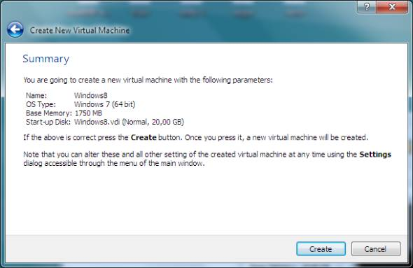 new virtual machine creation