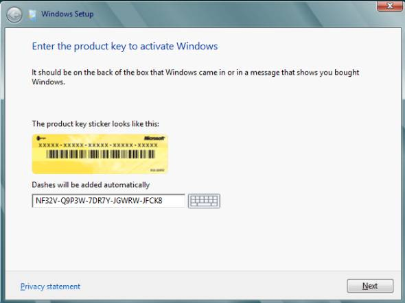 enter product key to activate Windows 8