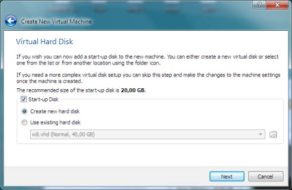 virtual hard disk for Windows 8 beta release