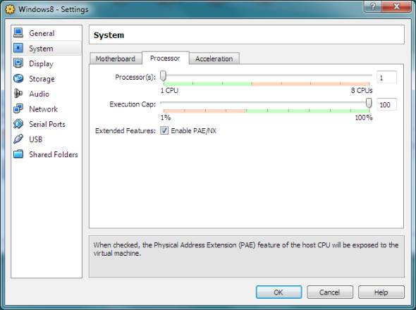 virtual machine processor settings for PAE/NX