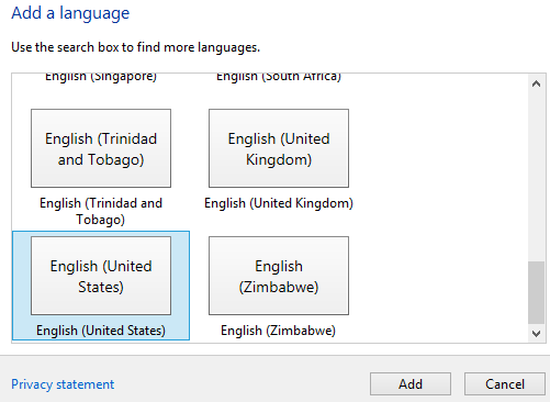 add United States English as Windows 8 system language