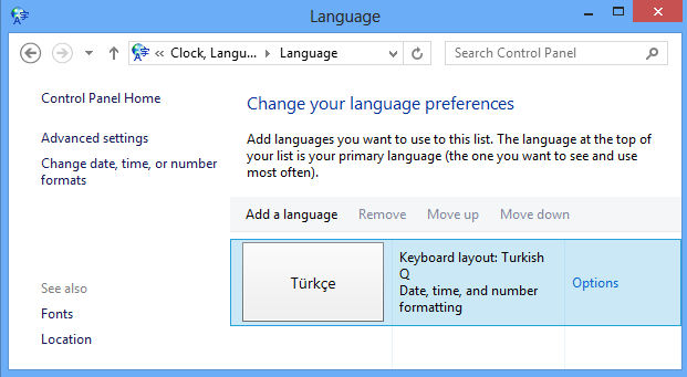 change language preferences using Windows 8 Control Panel