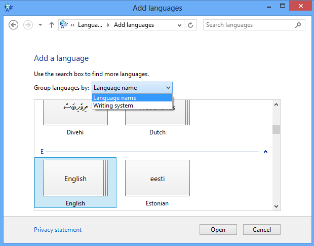 how to change Windows 8 language