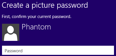 confirm your current password to create picture password for Windows 8 account