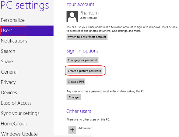 create picture password for Windows 8 account