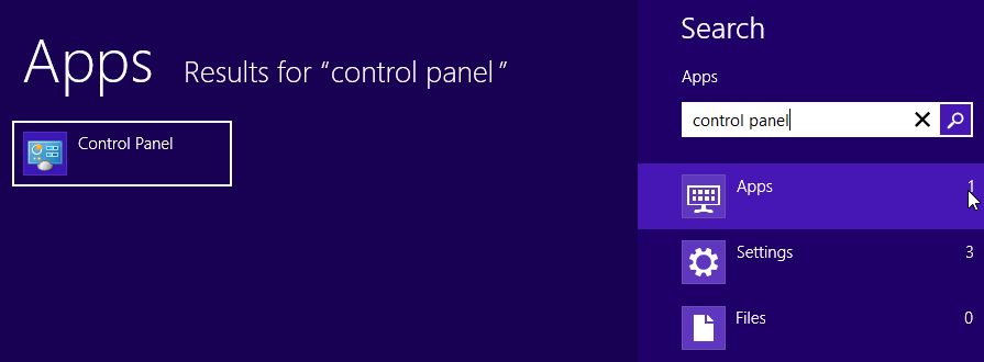 Launch Windows 8 Control Panel using Search Charm