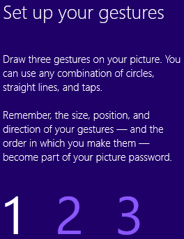 Setup gestures for Windows 8 password photo