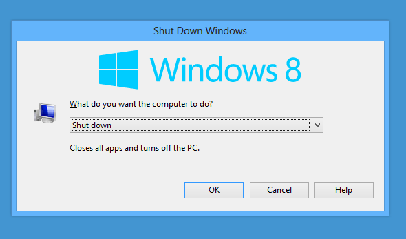 shut down Windows 8