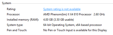 Windows 8 System rating is not available