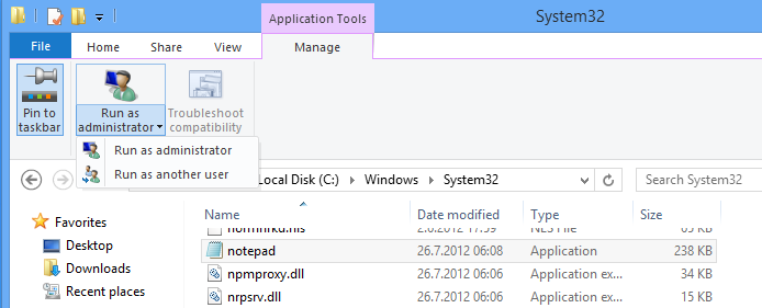 Windows 8 File Explorer Application Tools
