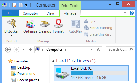 Windows 8 File Explorer Drive Tools