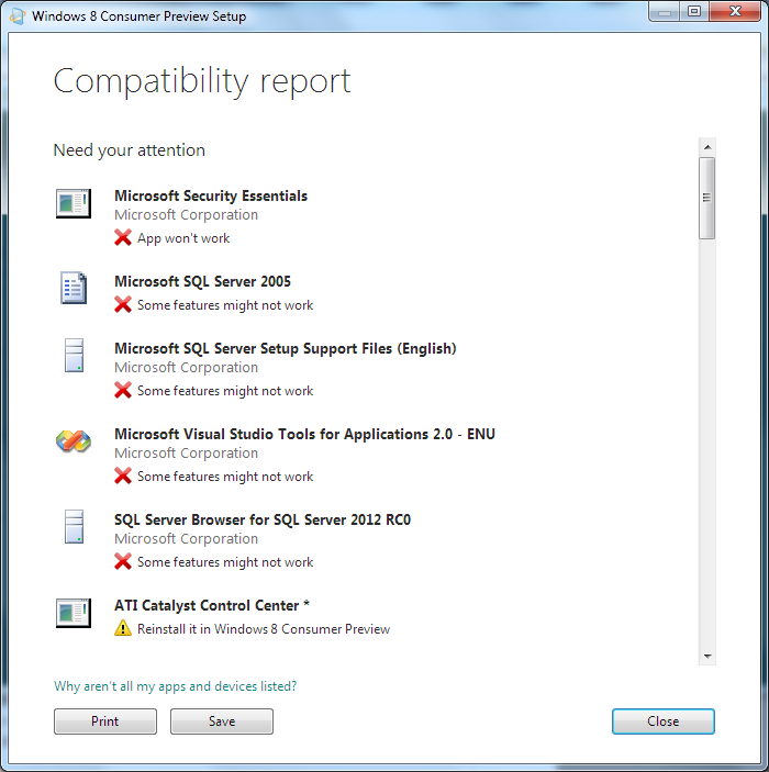 Windows Installation Compatibility Advisor Report