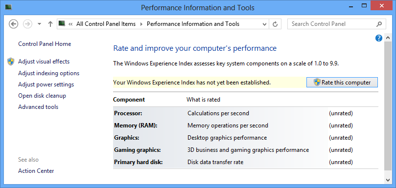 Windows 8 performance information and tools