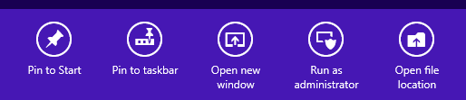 Windows 8 Search charm context menu