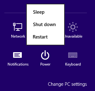 Windows 8 settings charm and Power icon for shut down PC