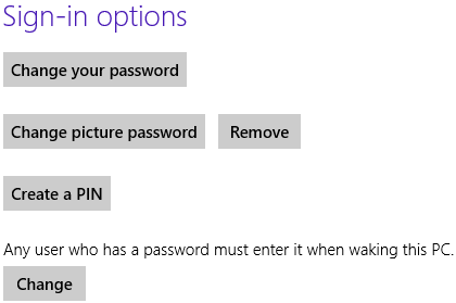 Windows 8 user account sign-in options