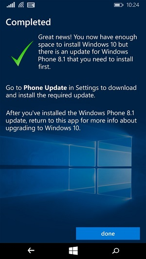 Windows 10 upgrade settings for Windows Phone