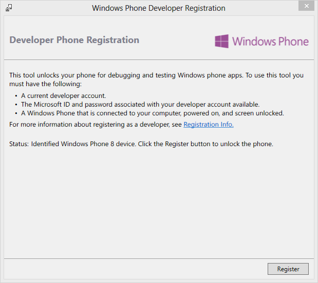 Windows Phone Developer Registration