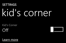 enable Kid's Corner on Windows Phone 8 using Setings app