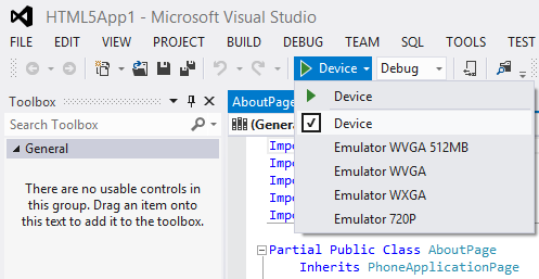 Visual Studio emulator options to test Windows Phone apps