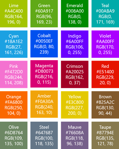 Windows Phone 8 accent colors list