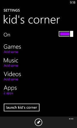 Windows Phone 8 Kid's Corner configuration in Settings app