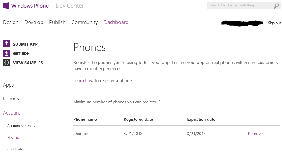 Windows Phone Dev Center Dashboard registered phones list
