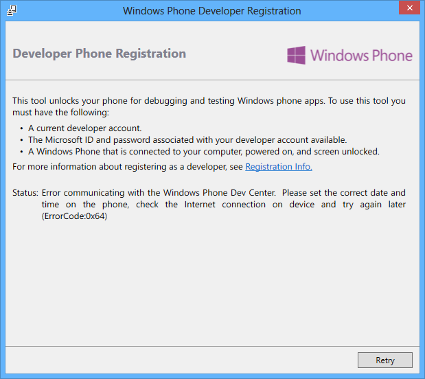 Error communicating with the Windows Phone Dev Center