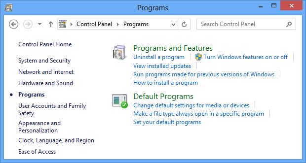 Turn Windows features on or off using Control Panel