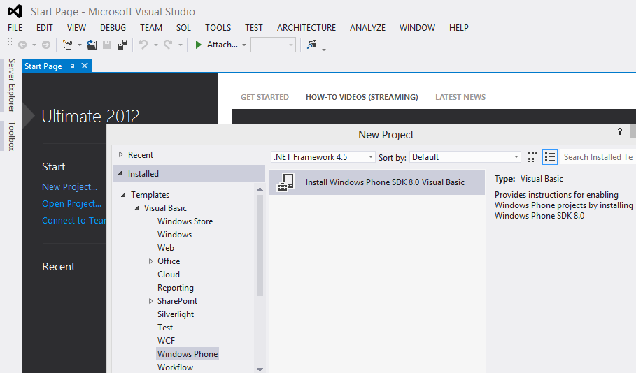 install Windows Phone SDK 8.0 within Visual Studio 2012 Ultimate