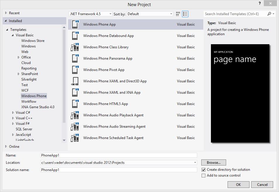 create Windows Phone 8 app in Visual Studio 2012 using Windows Phone SDK 8.0