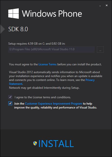 Windows Phone SDK setup for Windows Phone 8 app development using Visual Studio 2012