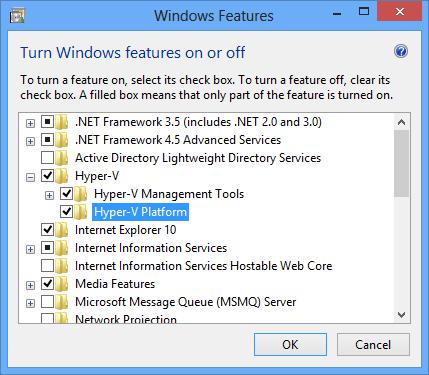 Turn on Windows Hyper-V Platform feature for Windows Phone Emulator configuration
