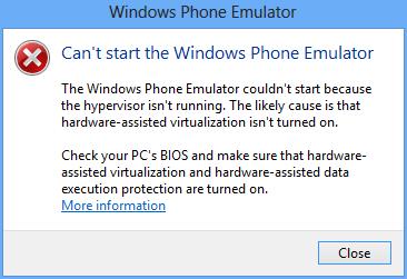 Windows Phone Emulator couldn't start because the hypervisor isn't running