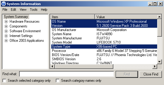 check Windows version using msinfo32 on Windows XP