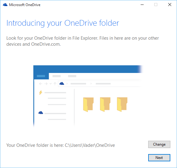 create OneDrive folder on Windows 10
