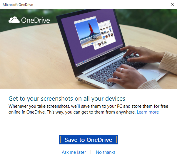 save screenshots to OneDrive automatically
